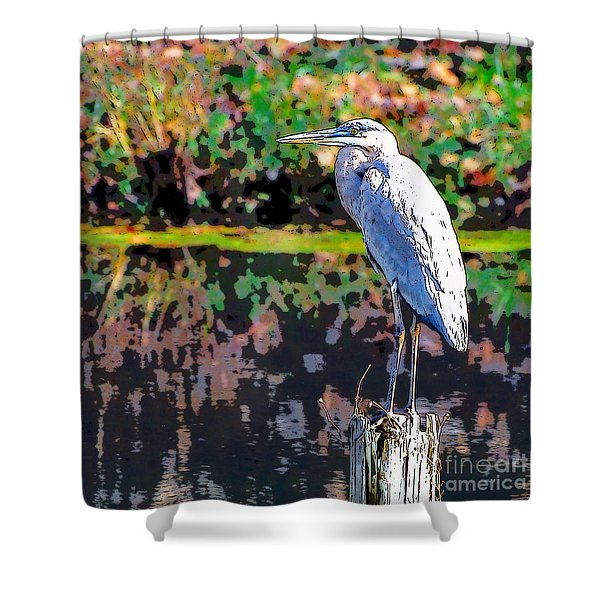 Great Blue Heron At The Pond Shower Curtain