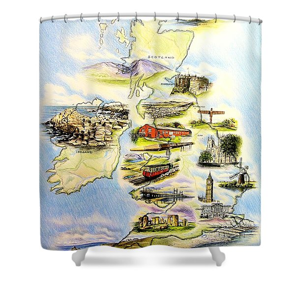 Great Britain And Ireland Shower Curtain
