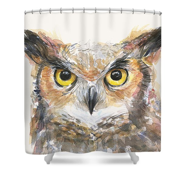 Great Horned Owl Watercolor Shower Curtain