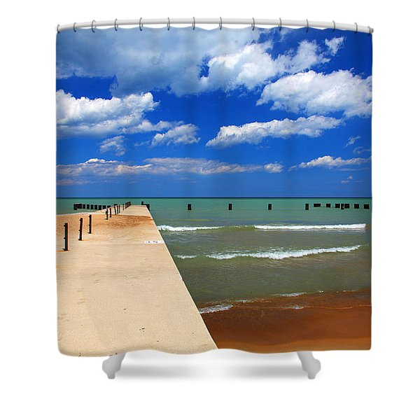 Great Lake Horizon Clouds Shower Curtain