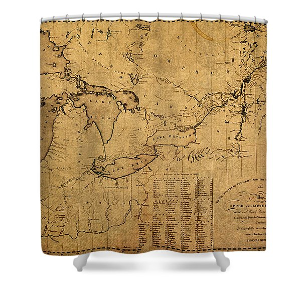 Great Lakes And Canada Vintage Map On Worn Canvas Circa 1812 Shower Curtain