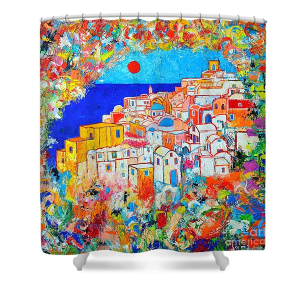 Greece - Santorini Island - Abstract Impression From Oia At Sunset - A Moment In Time Shower Curtain