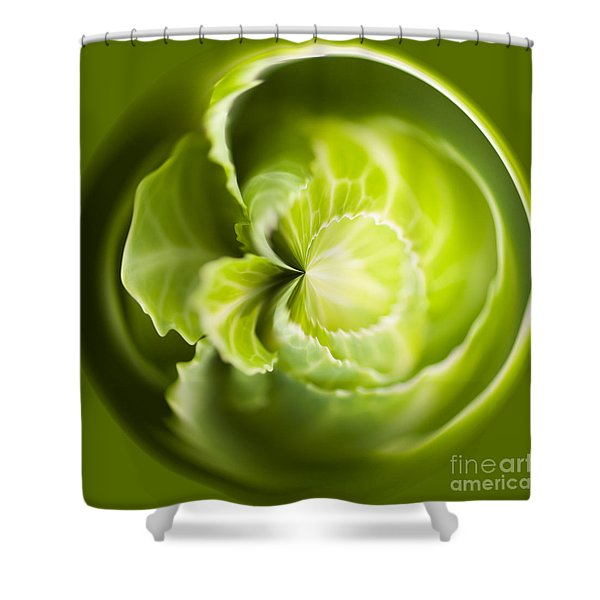 Green Cabbage Orb Shower Curtain