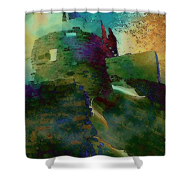 Green Castle Shower Curtain