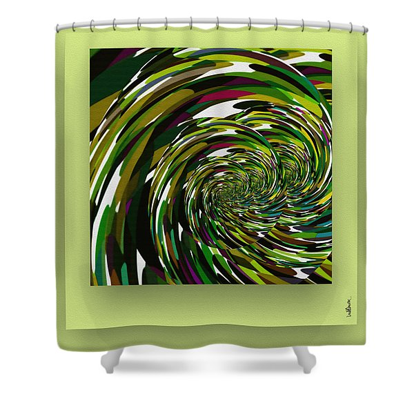 Shower Curtain featuring the digital art Green Color Storm by Mihaela Stancu