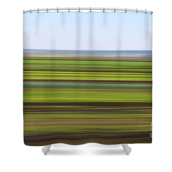 Green Field Abstract Shower Curtain
