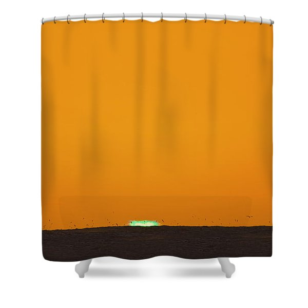 Green Flash Bird Pile Shower Curtain