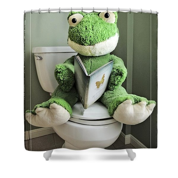Green Frog Potty Training - Photo Art Shower Curtain