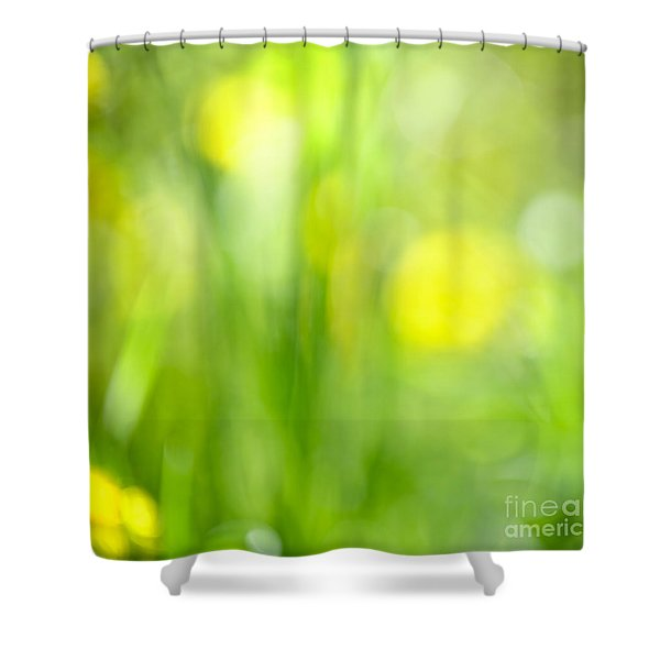 Green Grass With Yellow Flowers Abstract Shower Curtain