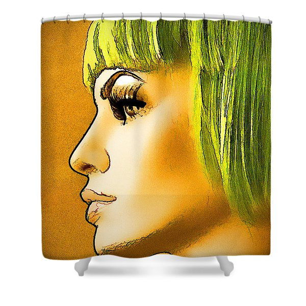 Green Hair Shower Curtain