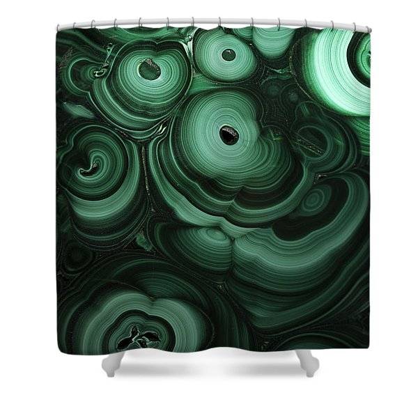 Shower Curtain featuring the photograph Green Patterns Of Malachite by Jaroslaw Blaminsky