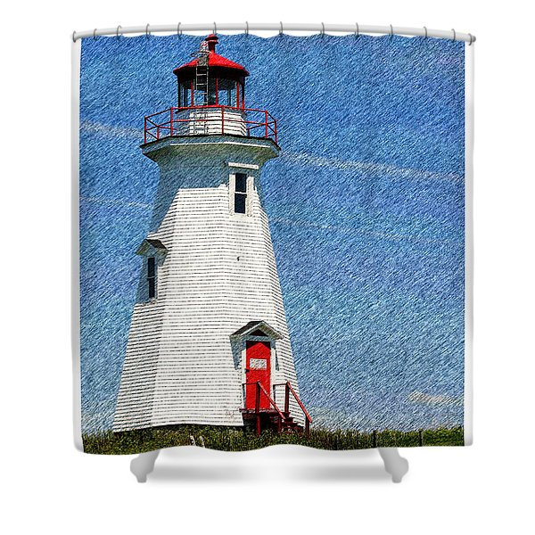 Green Point Light - Color Sketch Shower Curtain