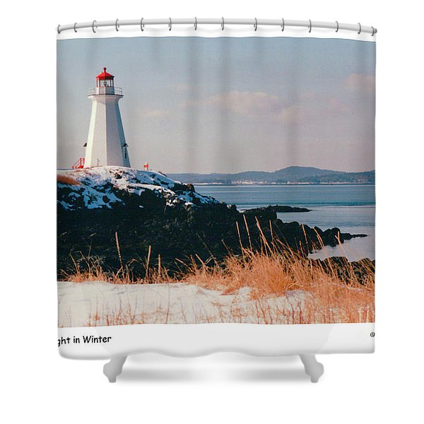 Green Point Light In Winter Shower Curtain