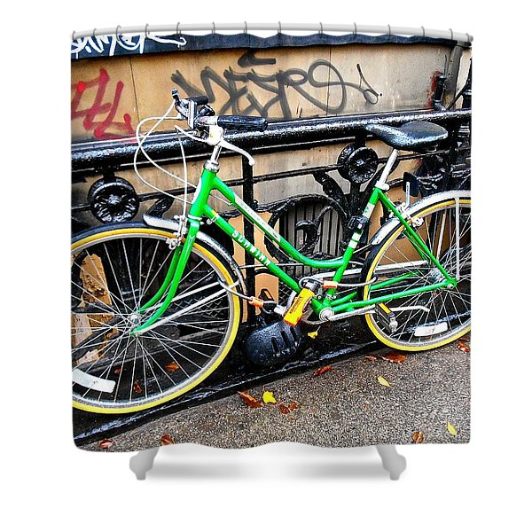 Green Schwinn Bike  Nyc Shower Curtain