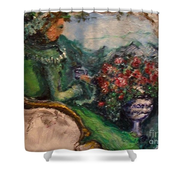 Shower Curtain featuring the painting Green Tea In The Garden by Laurie Lundquist