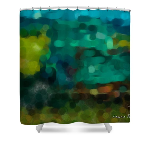 Green Truck In Abstract Shower Curtain
