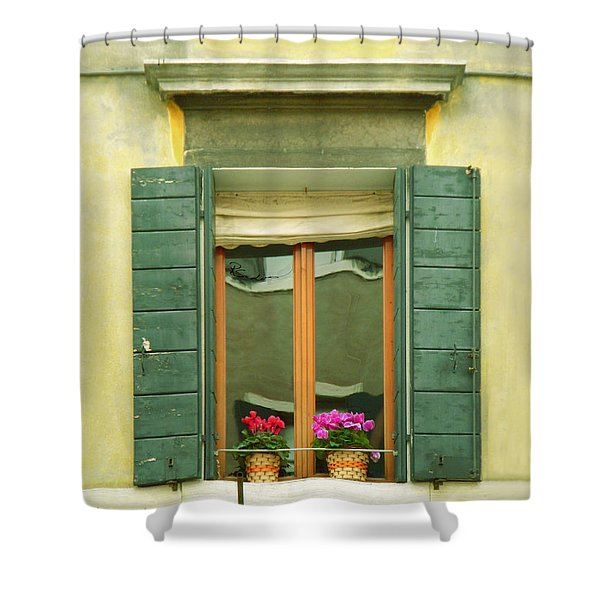 Green Yellow Venice Series Shutters Shower Curtain