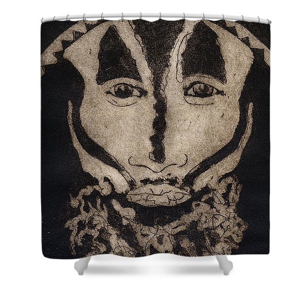 Greetings From New Guinea - Mask - Tribesmen - Tribesman - Tribal - Jefe - Chef De Tribu Shower Curtain