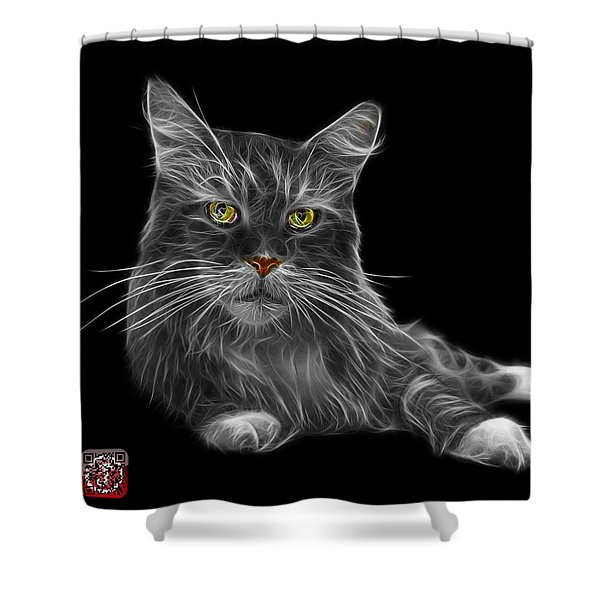 Greyscale Maine Coon Cat - 3926 - Bb Shower Curtain