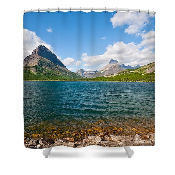 Grinnell Point From Swiftcurrent Lake Shower Curtain