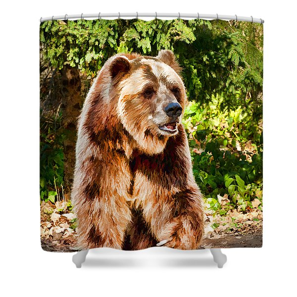 Grizzly Bear - Painterly Shower Curtain