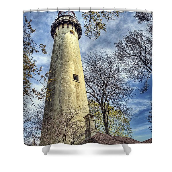 Grosse Point Lighthouse Color Shower Curtain