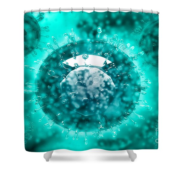 Group Of H5n1 Virus With Glassy View Shower Curtain