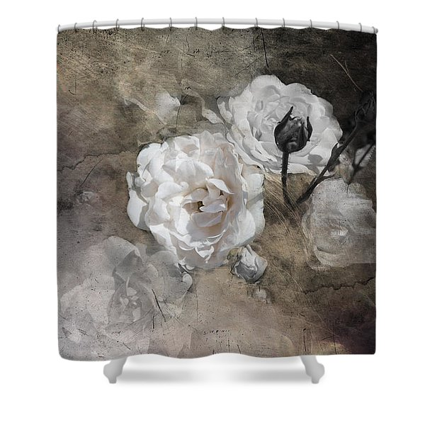 Grunge White Rose Shower Curtain