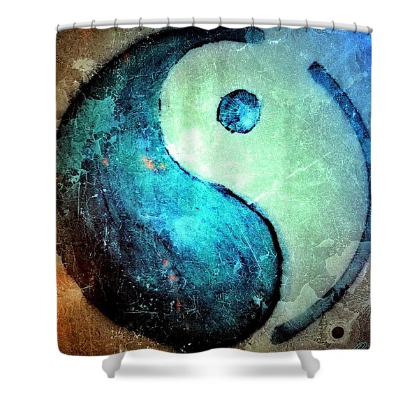 Grunge Yin Yang Water Is Precious Shower Curtain