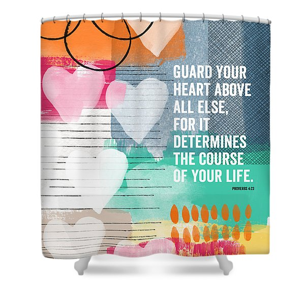 Guard Your Heart- Contemporary Scripture Art Shower Curtain