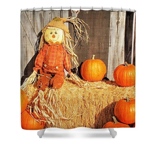 Guarding The Pumpkins Shower Curtain