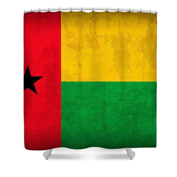 Guinea Bissau Flag Vintage Distressed Finish Shower Curtain