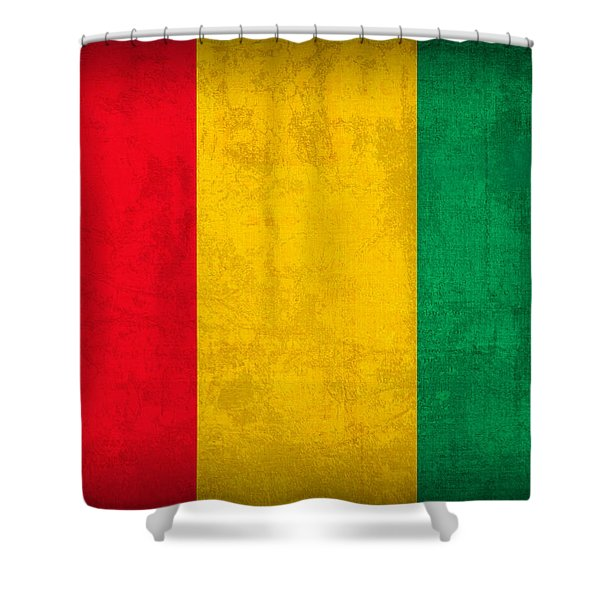 Guinea Flag Vintage Distressed Finish Shower Curtain
