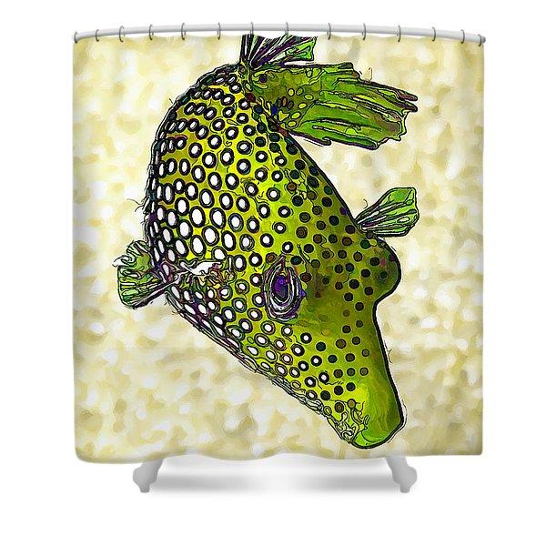 Guinea Fowl Puffer Fish In Green Shower Curtain