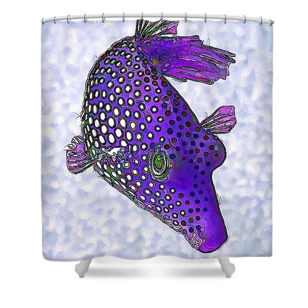 Guinea Fowl Puffer Fish In Purple Shower Curtain