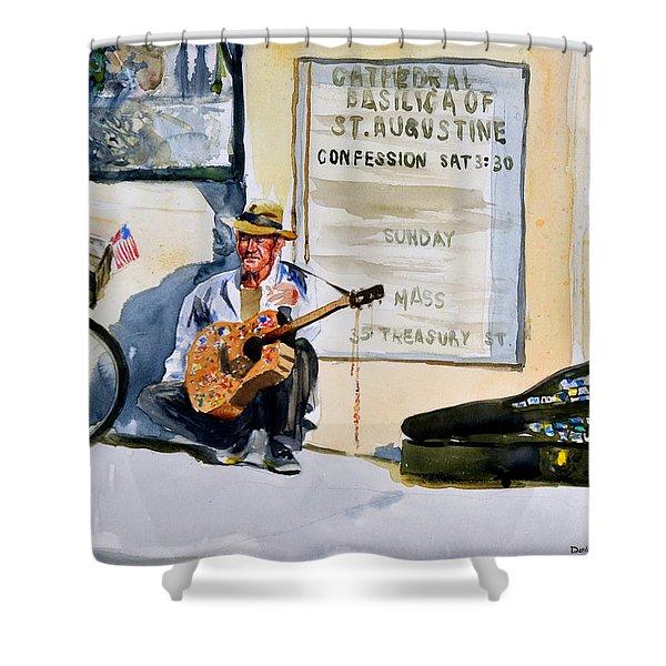 Da192 Guitar Man By Daniel Adams Shower Curtain