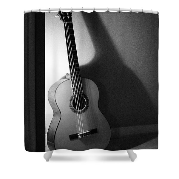 Guitar Still Life In Black And White Shower Curtain
