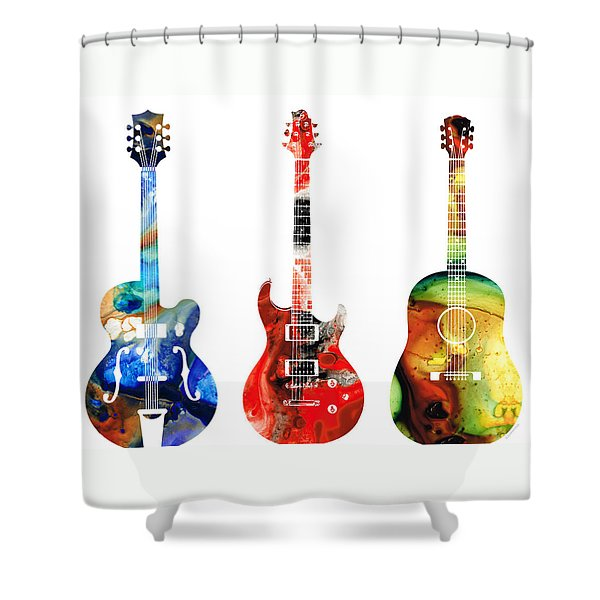 Guitar Threesome - Colorful Guitars By Sharon Cummings Shower Curtain