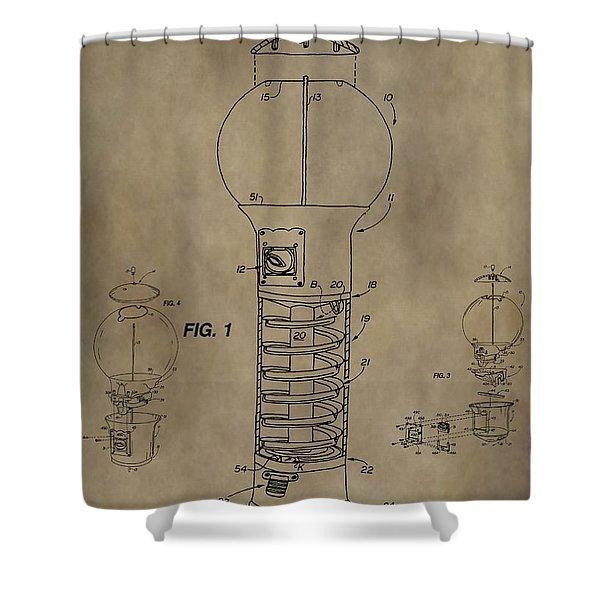 Gumball Machine Patent Shower Curtain