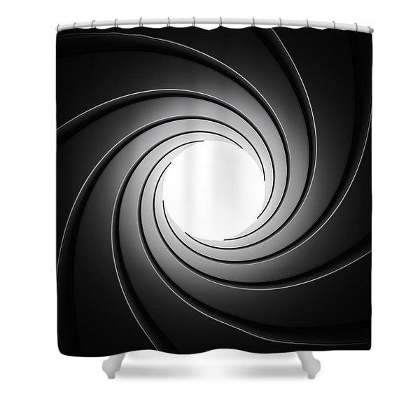 Gun Barrel From Inside Shower Curtain