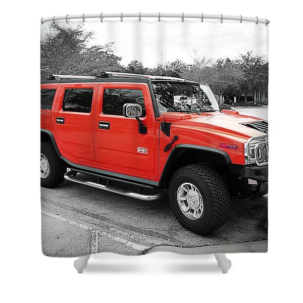 Red Hummer H2 Series  Shower Curtain