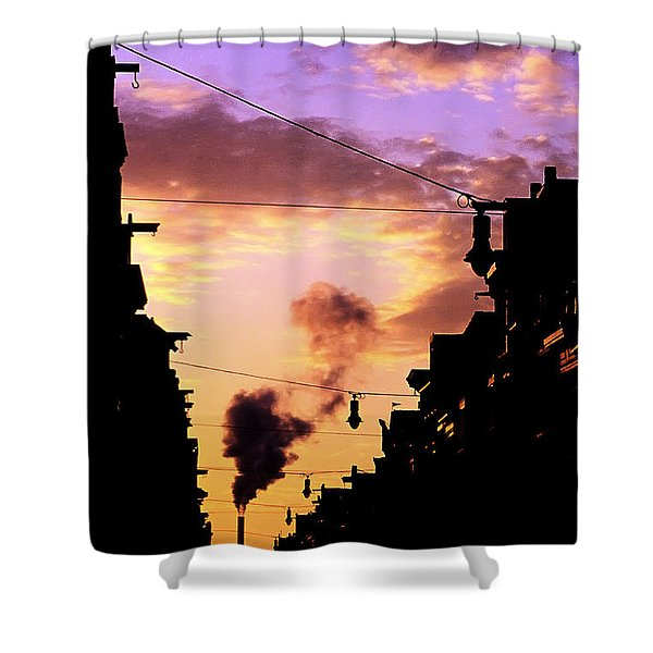 Shower Curtain featuring the photograph Haarlemmerstraat by Fabrizio Troiani