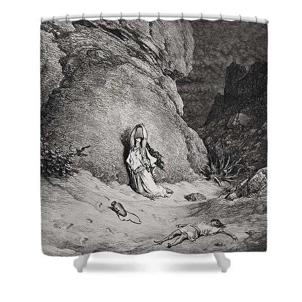 Hagar And Ishmael In The Desert Shower Curtain