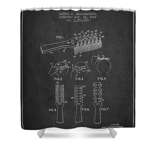Hair Brush Patent From 1966 - Charcoal Shower Curtain