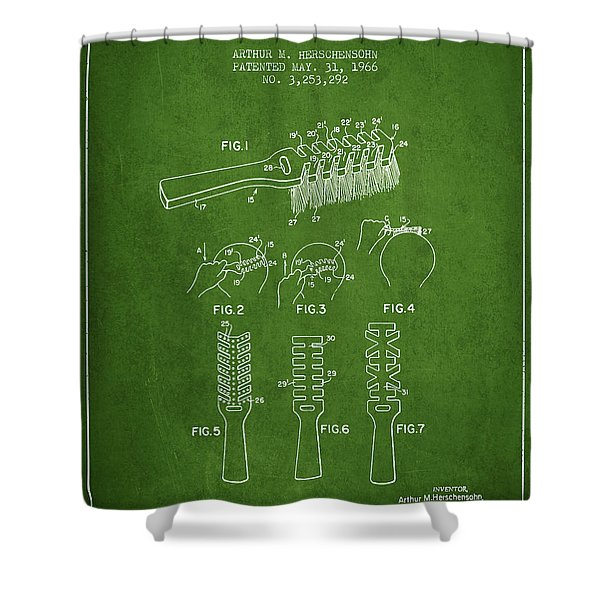 Hair Brush Patent From 1966 - Green Shower Curtain