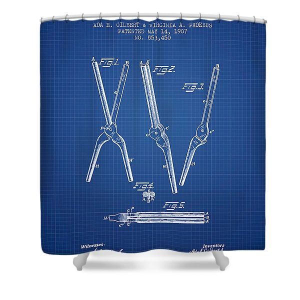 Hair Curling Iron Patent From 1907 - Blueprint Shower Curtain