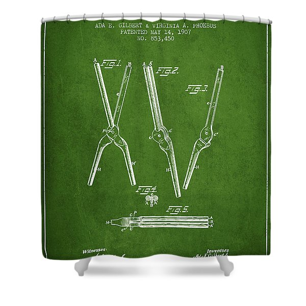 Hair Curling Iron Patent From 1907 - Green Shower Curtain