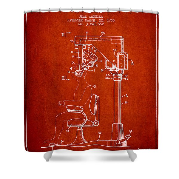Hair Cutting Machine Patent From 1966 - Red Shower Curtain