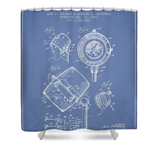 Hair Dryer Patent From 1960 - Light Blue Shower Curtain