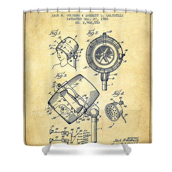 Hair Dryer Patent From 1960 - Vintage Shower Curtain